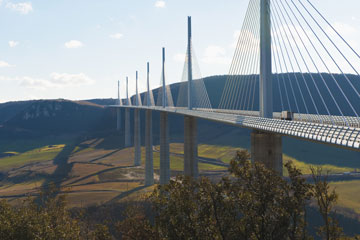 The Millau Viaduct spans the Tarn River Valley in Southern France.