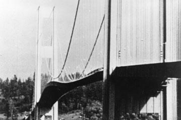 Resonance decimates the Washington's Tacoma Narrows suspension bridge over Puget Sound on Nov. 7, 1940.